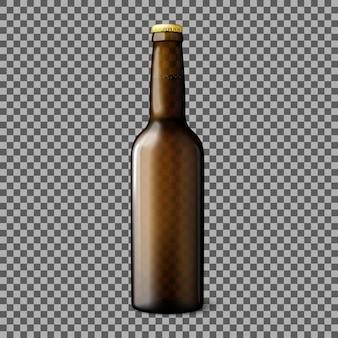 Leere transparente braune realistische bierflasche lokalisiert auf kariertem hintergrund mit reflexion. vektor-illustration
