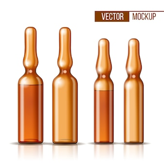 Leere transparente glasampulle und ampulle mit impfstoff oder medikament zur medizinischen behandlung. realistisches 3d-modell der ampulle mit medikament zur injektion. leere schablone der durchstechflasche.