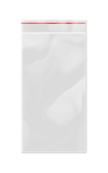 Leere transparente plastikreißverschlusstasche