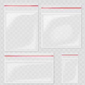 Leere transparente plastiktaschentaschen