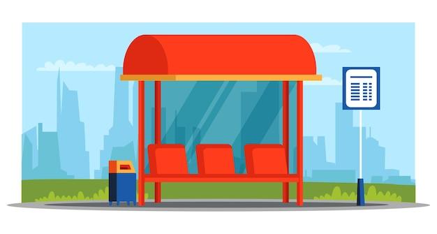 Leere überdachung mit bushaltestelle, sitzplätze für personen, mülleimer, informationsfahrplan. stadtbildhintergrund. öffentlicher platz. stadtverkehr und transport.