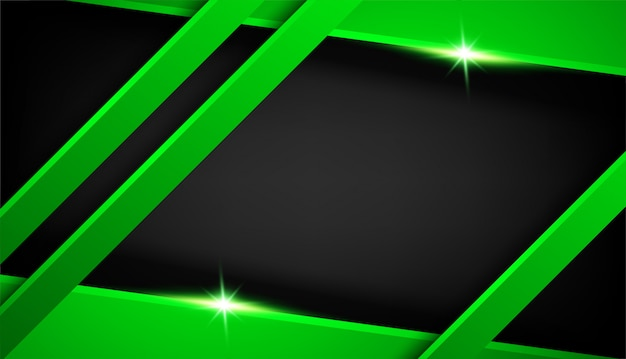 Leere überlappungsformschicht-effektdekoration. abstrakter dunkelmetallischer grüner schwarzer rahmenplanentwurfstechnologieinnovations-konzepthintergrund mit funkeln und lichteffekt -