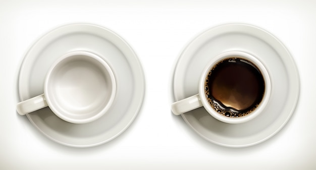 Leere und volle kaffeetassen
