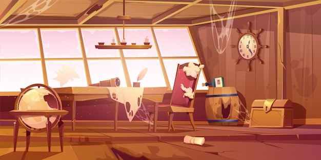 Leere verlassene alte piratenschiffraum