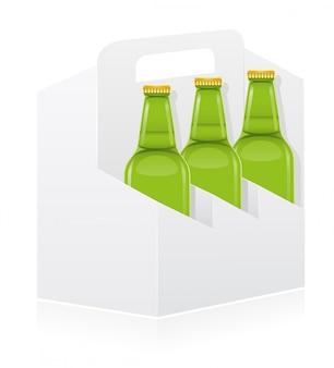 Leere verpackungsbox für flaschenvektorillustration