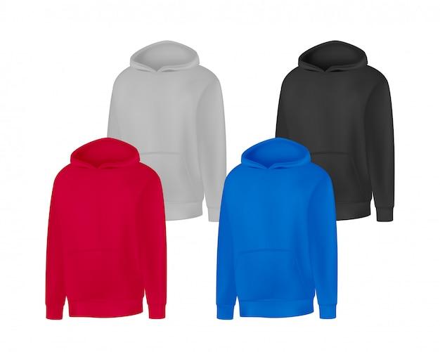 Leere verschiedene farben herren hoodie sweatshirt langarm. männlicher kapuzenpulli mit vorderansicht der haube.