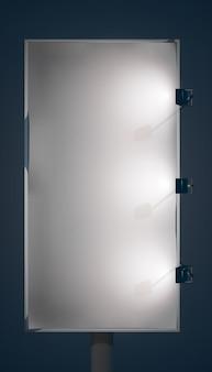 Leere vertikale werbetafel auf metallsäule für kommerzielle werbung und verkaufsförderung mit isolierten scheinwerfern