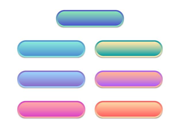 Leere vorlage für web-buttons. satz moderner mehrfarbiger tasten für website.