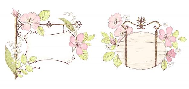 Leere vorlage, skizzenhafter stil. blumige romantische schilder