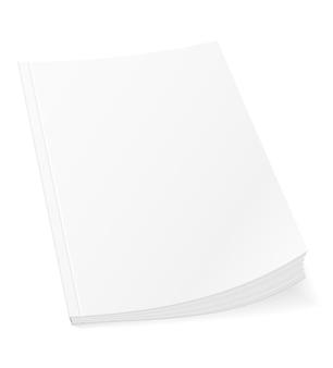 Leere vorlagenabdeckung des buchbroschüren-broschürenmagazins auf weiß on
