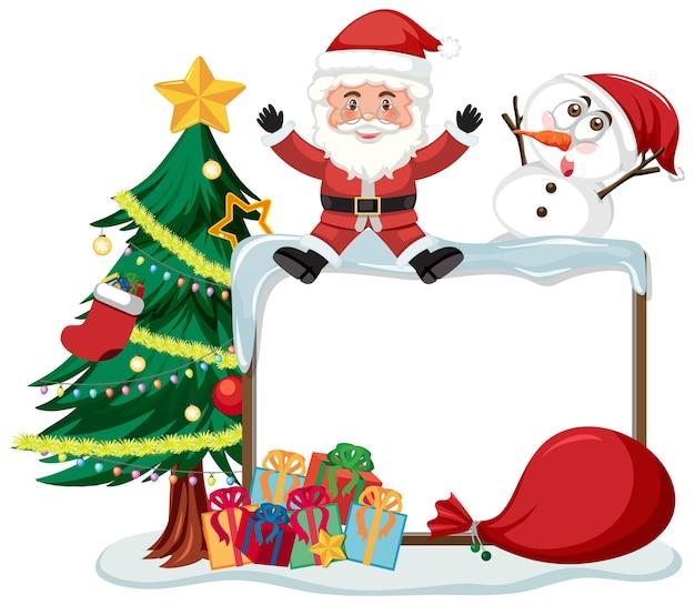 Leere weihnachtstafel mit zeichentrickfiguren und objekten