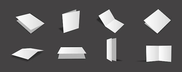 Leere weiße bifold-broschüren-modellsammlung mit verschiedenen ansichten und blickwinkeln