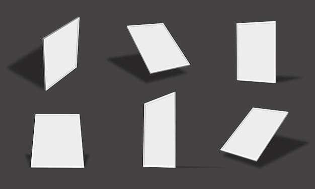 Leere weiße fotorahmen-modellsammlung mit verschiedenen ansichten und winkeln