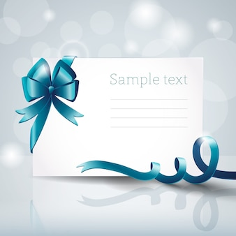 Leere weiße grußkarte mit großer blauer schleife und textfeld