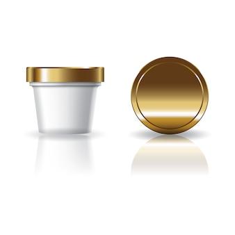 Leere weiße kosmetik- oder nahrungsmittelrunde schale mit golddeckel.