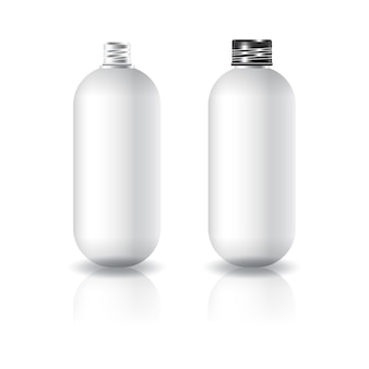 Leere weiße ovale runde kosmetische flasche mit schwarzem schraubdeckel.