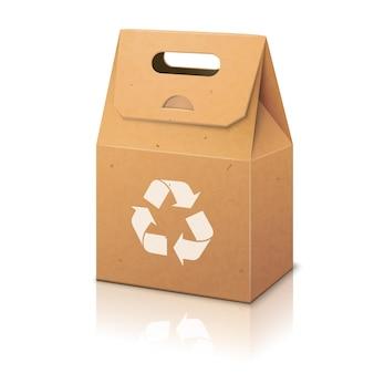 Leere weiße papier ökologische handwerksverpackungstasche mit recyceln zeichen