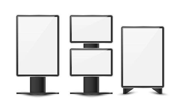 Leere weiße plakatanschlagtafel für werbungsvektordesign.