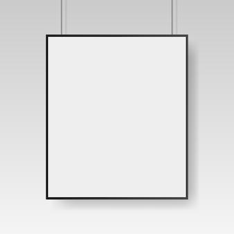 Leere weiße plakatschablone mit schwarzem rahmen. affiche, blatt papier.