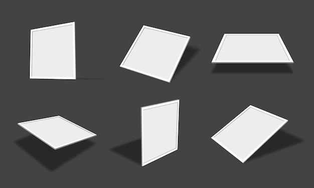 Leere weiße quadratische fotorahmen-modellsammlung mit verschiedenen ansichten und winkeln