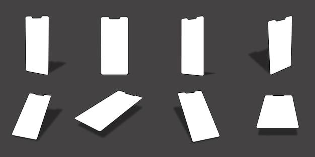 Leere weiße smartphone-bildschirm-mockups-sammlung mit verschiedenen ansichten und winkeln
