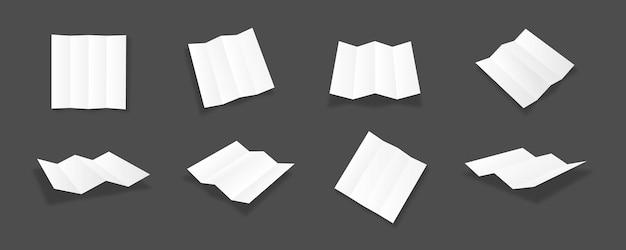 Leere weiße vierfache broschürenmodellsammlung mit verschiedenen ansichten und blickwinkeln