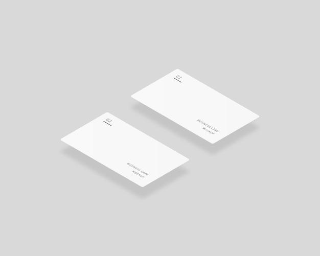 Leere weiße visitenkarten mockup von zwei horizontalen visitenkarten mockup-vektor isoliert template-design realistische vektorillustration