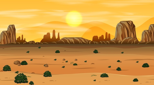 Leere wüstenwaldlandschaft bei sonnenuntergang zeitszene