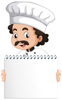 Leere zeichenschablone mit glücklichem koch auf weißem hintergrund