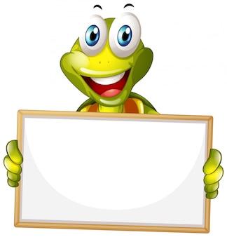 Leere zeichenschablone mit glücklicher schildkröte auf weißem hintergrund