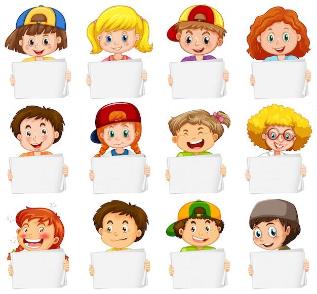 Leere zeichenvorlage mit glücklichen kindern auf weißem hintergrund