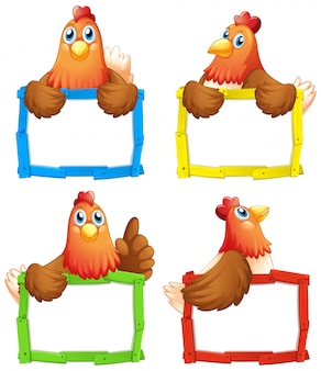 Leere zeichenvorlage mit vielen hühnern auf weißem hintergrund
