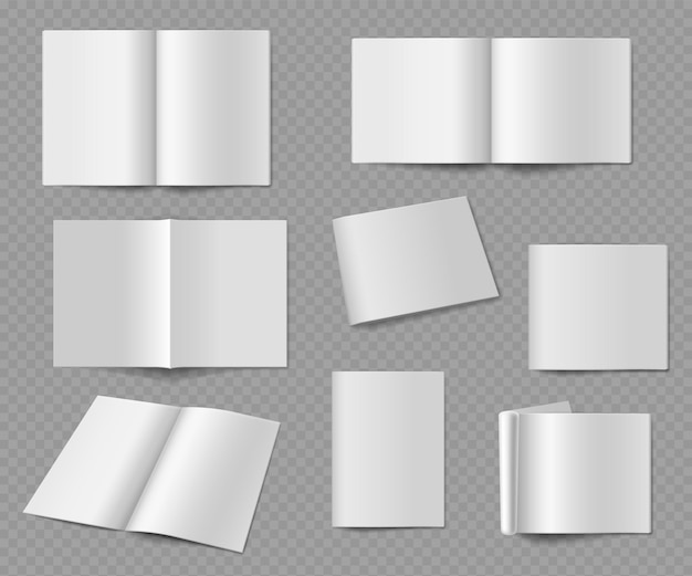 Leere zeitschrift. realistisches leeres album oder buch, katalog- oder zeitschriftenmodell frontal und aus verschiedenen blickwinkeln präsentationsveröffentlichung, papierblätter vektorvorlagen auf transparentem hintergrund