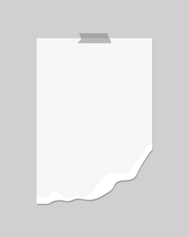 Leere zerrissene papierschablone. leeres papier an der wand. realistische illustration.
