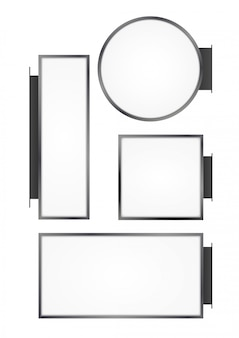 Leerer an der wand befestigter straßenladen. schild leer rund, rechteck, quadrat lightbox beschilderung