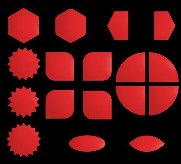Leerer aufkleber eingestellt auf verschiedene formen