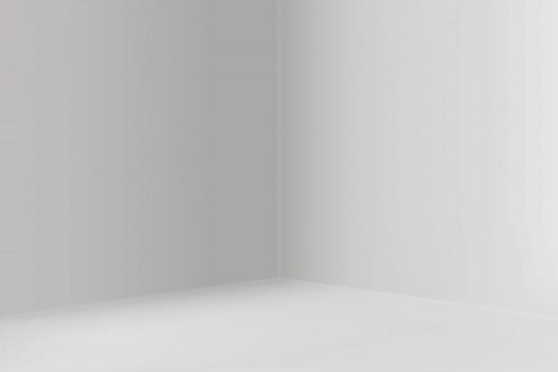 Leerer ausstellungsraum mit quadratischem eckhintergrund