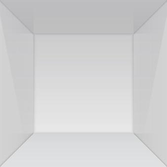 Leerer ausstellungsraum mit quadratischer ecke.
