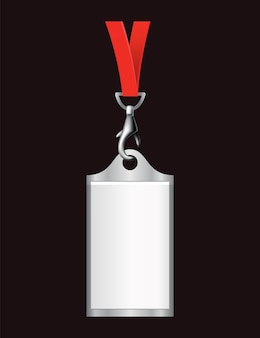 Leerer ausweis. namensschild aus kunststoff, ausweis. karte, persönliches büro-tag oder leeres abzeichen auf realistischer vorlage des schlüsselbands.