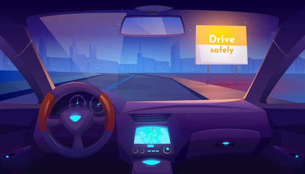 Leerer autoinnenraum nach innen mit gps auf armaturenbrett