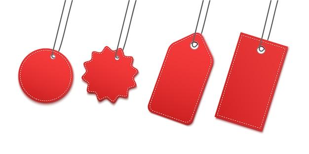 Leerer baumelnder papieraufkleber oder stoffmarke.