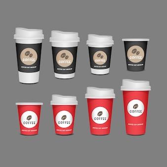 Leerer becher, realistischer satz der kaffeetasse lokalisiert auf weißem hintergrund. Premium Vektoren