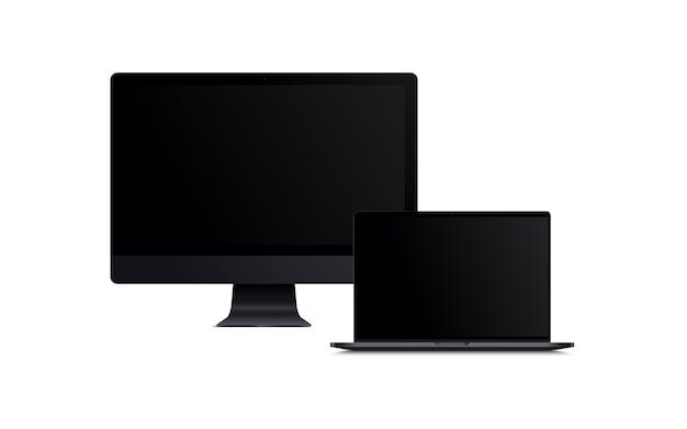 Leerer bildschirm des lcd-monitors und des schwarzen laptops
