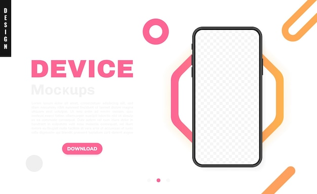 Leerer bildschirm des smartphones, telefon. neues pone-modell. vorlage