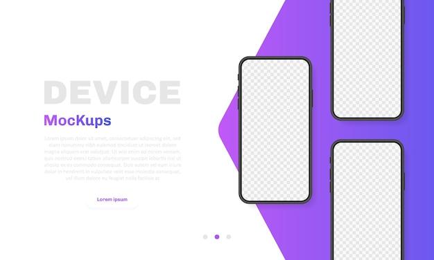 Leerer bildschirm des smartphones, telefon. neues telefonmodell. vorlage für infografiken für die benutzeroberfläche der präsentation. illustration.