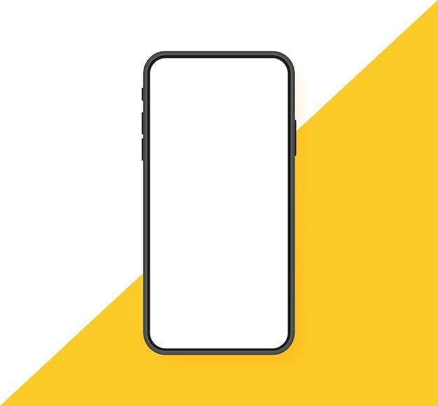 Leerer bildschirm des smartphones, telefon. neues telefonmodell. vorlage