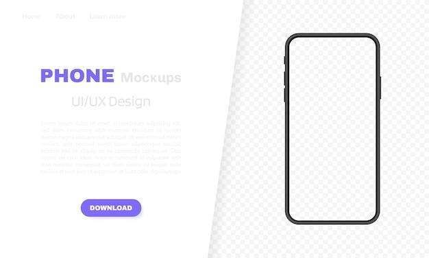 Leerer bildschirm des smartphones, telefon. vorlage für infografiken, präsentationen oder mobile apps. benutzeroberfläche. moderne illustration.