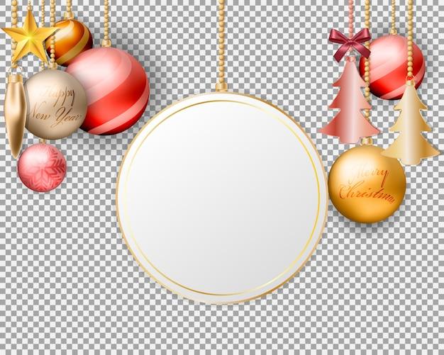 Leerer bildschirm hängende weihnachtskugeldekorationen