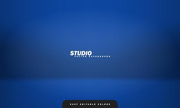 Leerer blauer studioraumhintergrund, der als hintergrund für die anzeige ihrer produkte verwendet wird. vektor-illustration. leicht editierbare farben.