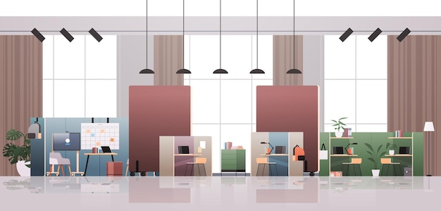 Leerer coworking center moderner büroraum innenraum kreativer offener raum mit horizontaler illustration der möbel